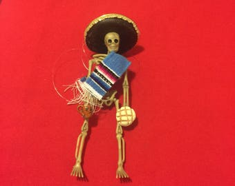 Blue Sarape day of the dead skeleton ornament with pan dulce y cafe #8