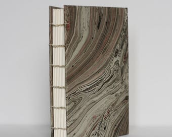 Cairo Book - Tan with Pink, Black, & Gold-foiled Marbling Handbound Coptic Stitch Notebook
