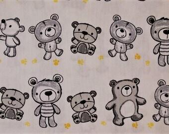 Grey bears on white pattern cotton fabric