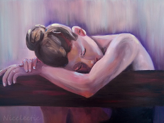 Sad pensive woman with her head down, figurative oil painting, ballet, beautiful girl, lonely woman, thoughtful, ballerina, closed eyes