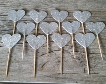 12 Silver Heart Cupcake Toppers