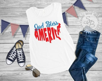 God Bless America / Ladies 4th of July Shirt // Patriotic Ladies Shirt // Bella Canvas Flowy Muscle Shirt // Next Level Tank