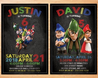 Sherlock Gnomes, Shelock Gnomes Party, Gnomeo and Juliet, Birthday Party Invitations, Printable Gnomes Invitations