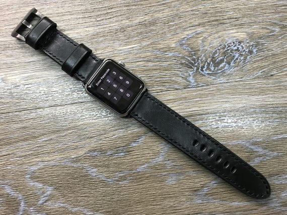 Apple Watch band, Leather watch band, Apple Watch Strap, iwatch, Apple watch 38mm, Apple Watch 42mm, Black watch band, FREE SHIPPING