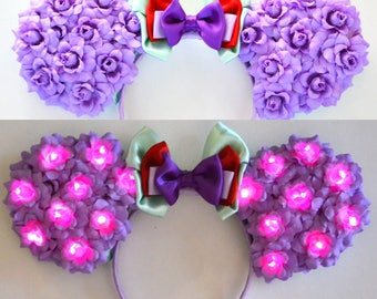 Light-Up Mermaid Princess Floral Mouse Ears