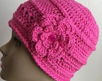 Women's crochet hat, summer / spring, COTTON/SILK, chemo hat, dark pink, removable flower, Ready to ship.  S1