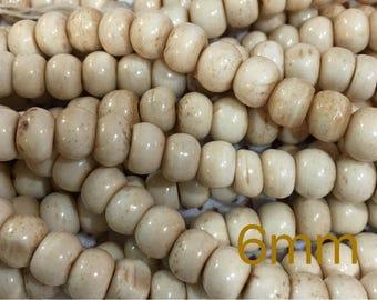Bone, Beads, Bone Beads, 6mm Beads, Round Beads, Ox Bone, Ox Bone Beads, Large Hole Beads, Natural Beads, Natural Bone, Natural Bone Beads