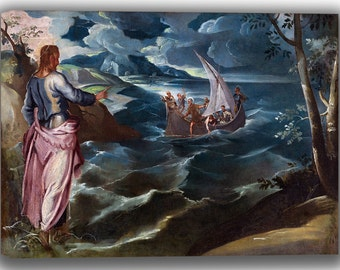 Jacopo Tintoretto: Christ at the Sea of Galilee. Fine Art Canvas. (04056)