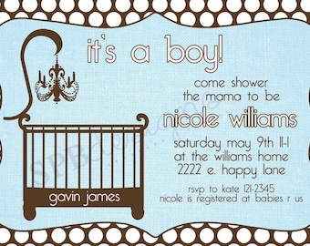 Baby Shower Invitation -- Cute Crib