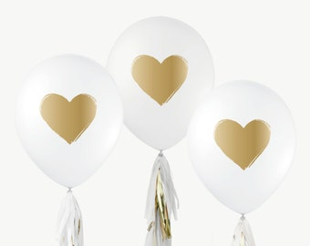 "12"" White & Gold Balloons // Brushed Heart // Wedding Shower, Bridal Shower, First Birthday, Baby Shower, Balloon Photo Prop, Gold Wedding"