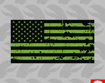 Tattered OD Green American Flag Sticker Self Adhesive Vinyl  america usa - C3677