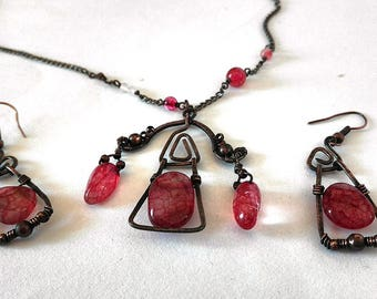 Limited Bohemian necklace and earrings, Hippie style jewelry, Wirewrapped dragon veins agate, gift for her,