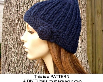 Instant Download Knitting Pattern - Gnome Hat Pattern - Knit Hat Pattern for Quinn Beanie Hat - Womens Hat Pattern - Womens Accessories