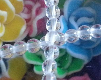 20 4 mm rock crystal beads, 1 mm hole