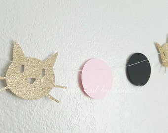 Pink, Black, and GOLD KITTY CAT Garland, Photo Prop, Birthday Party Decorations.  Kitty Party Decorations.  7 Feet