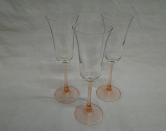 6~ Americana Rose by Cristal D'Arques-Durand Flared Pink Champagne Flutes Set of SIX France