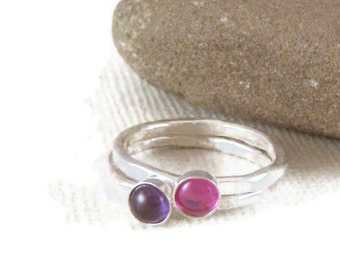 Birthstone Rings, Stacking Rings in Sterling Silver set of two