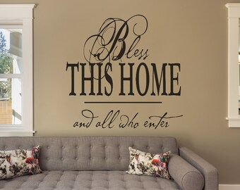 Living Room Decor, Living Room Wall Decal, Living Room Wall Decor, Wall Decal, Wall Decals, Bless This Home Sign, Bless This Home Decal