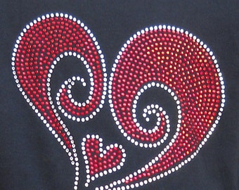 Girls Rhinestone Swirled Heart T-shirt