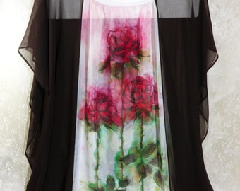 Silk kaftan dress hand painted Sheer chiffon tunic Sexy Red roses Brown White OOAK Original High end caftan silk cover up Wedding night wear