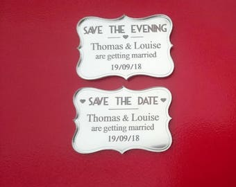 Save the date personalised art deco style fridge magnets laser cut engraved wedding silver mirror