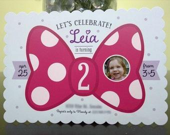Pink Polka Dot Bow (Minnie Mouse Inspired) DIY Custom Digital Printable Birthday Invitation with Photo