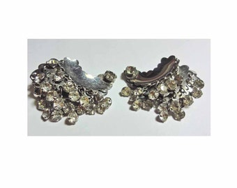Rhinestone Climber Earrings Vintage 50s Earrings With Dangle Clip on Crescent Moon