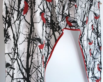 """Curtain valance white black brunches red birds Cafe curtain Curtain panel Eco Friendly Gift 56""""x35"""" or made to order your size, great GIFT"""