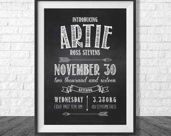 Chalkboard Style Birth Print | Personalised Birth Announcement | Chalkboard Arrows Nursery Poster | Digital Decor Print