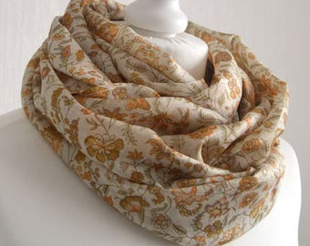Ivory Orange Floral Recycled Sari Silk Scarf Nursing Cover Sari Scarf Silk Scarf Indian Silk Infinity Scarf Handmade Scarf- CMCISE0327