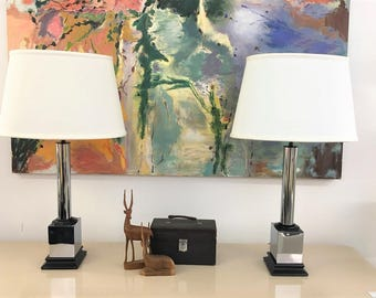 Mid Century Modern vintage Chrome and black pedestal table lamps with shades