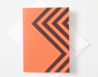 Greeting Card - Fluro / Chevron Stripe