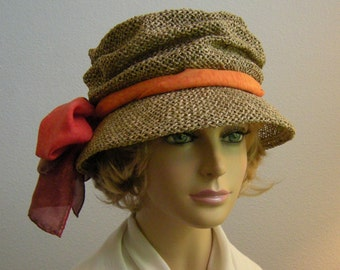 Paige Seagrass Hat, packable for travel, choose your silk scarf color,womens straw hat