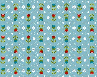 By The HALF YARD- Dutch Treat by Betz White for Riley Blake,#C5284 Floral Dutch Stripe Blue, White, Blue, Yellow Tulips & Dots Scallop Lines