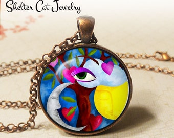 """Sun and Moon Nature Abstract Necklace - 1-1/4"""" Circle Pendant or Key Ring - Handmade Wearable Photo Art Jewelry- Artistic Eye & Nature Gift"""