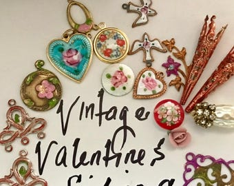 Vintage Assemblage Findings, Valentines Jewelry findings, Guilloche Charms, vintage connectors, Bead Caps, Enamel Charms, Hearts, #673Q