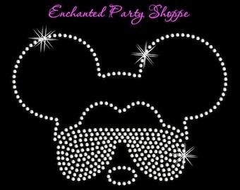 Disney Inspired Mickey With Sunglasses Iron On Rhinestone Transfer DIY Bling Disney Park Wear Disney Birthday Disney Fan