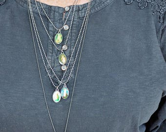 Necklaces - Silver ball chain with oval religious medallions