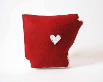 Handmade Personalized Arkansas State Throw Pillow with Customizable Heart