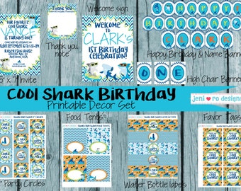 Cool Shark Birthday Party Printable Set - includes Invite and Thank you.  Personalization included!