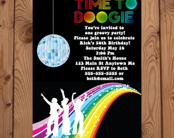 70s Party Invitations Printable 1970s Theme Party