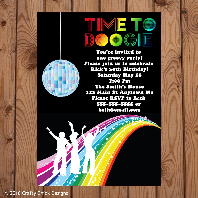 Disco Party Invitations Disco Invitation Disco Birthday