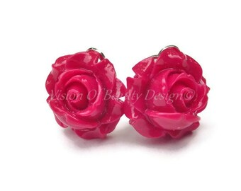 Red Rose Spring Flower Clip On Earrings