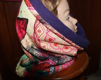 NOVELTY-Snood simple fleece purple multicolored pattern fabric