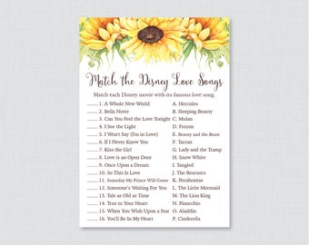 Sunflower Bridal Shower Game - Printable Disney Love Songs Match Game - Rustic Bridal Love Song Game - Yellow Sunflower Bridal Shower 0016-A