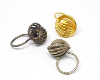 Nautilus Ring (3D Printed Steel, Bronze or Gold)