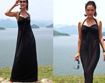 Black Halter low back Beach evening long maxi Sun dress All size