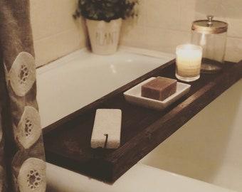 Bathtub Tray, Bathtub Wooden Tray, Bathtub Tray Holder, Bathroom Decor Tray