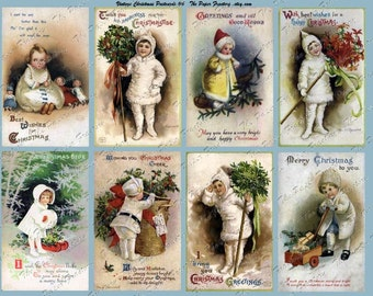 Vintage Christmas Post Cards No. 6 Digital Collage Sheet