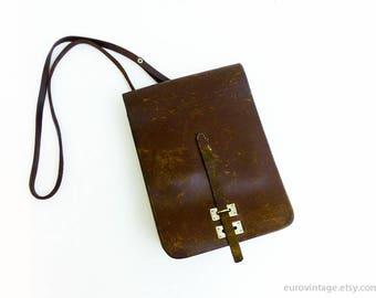 Vintage Leather Messenger Bag / Messenger Brown Reddish / Satchel Bag Distressed 60s